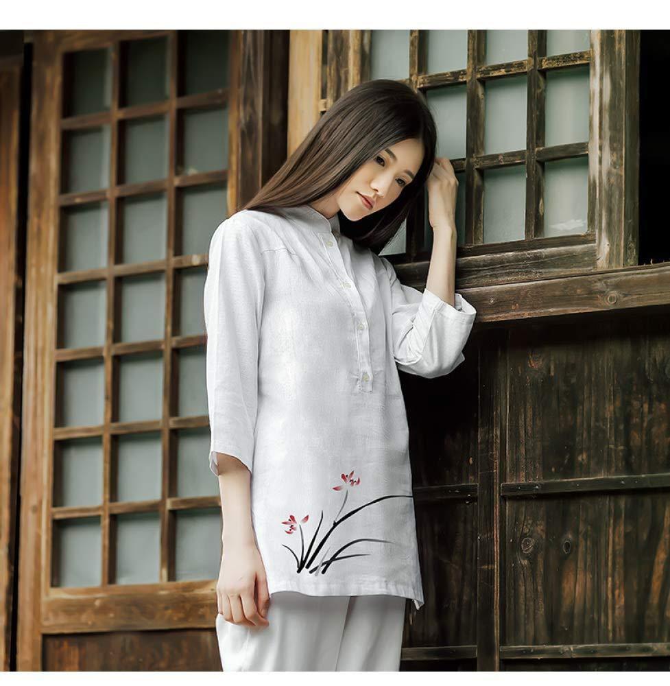 レディース禅瞑想スーツ太極拳ユニフォーム中国カンフー服綿とリネンヨガスーツ,A-M A Medium