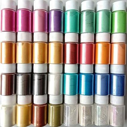 Teblacker Pigmento de mica en polvo, 32 colores, pigmento en ...