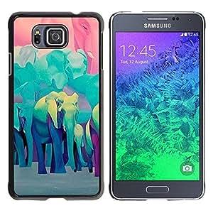 Be Good Phone Accessory // Dura Cáscara cubierta Protectora Caso Carcasa Funda de Protección para Samsung GALAXY ALPHA G850 // Teal Blue Africa Animals