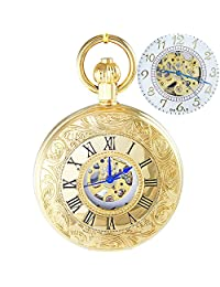 OGLE Waterproof Golden Roman White Chain Fob Self Winding Automatic Skeleton Mechanical Pocket Watch