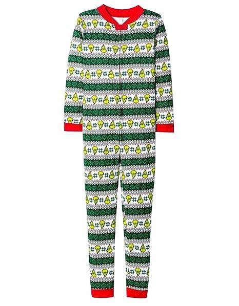 Pijamas de Navidad Familia Adultos Pijama de Una Pieza Familiares Manga Larga Hombre Mujer Pijamas Enteros