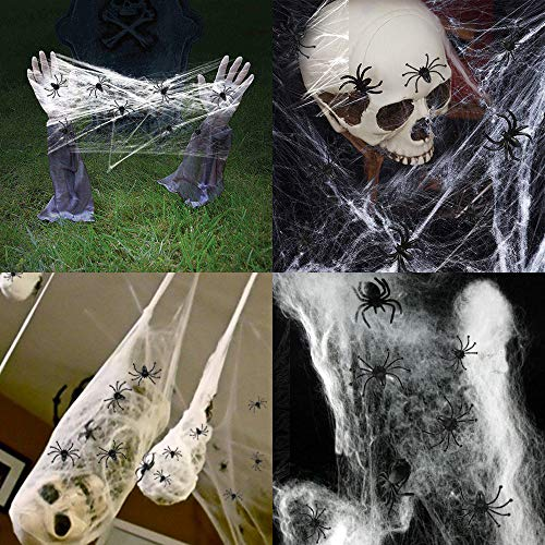 3 Pack Halloween Stretch Spider Webs, COOLWAS Indoor & Outdoor Spooky Spider Webbing with 50 Fake Spiders for Halloween Decorations -