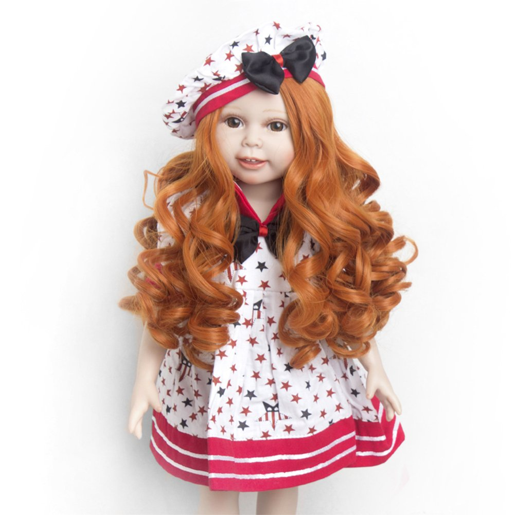 Wig Only!Spiral Curls Carroty Wig Doll Wig American Girl Barbie Baby BJD SD 12''Long Curly Heat Resistant Synthetic Hair for 18'' Doll