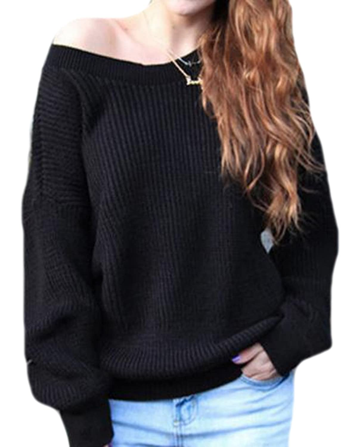 KXP Womens Fashion Solid Knitted Baggy Soft Pullover Sweaters