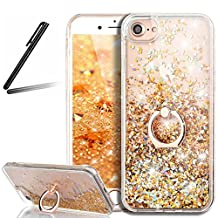 5S Case,iPhone 5 Glitter Case,SKYMARS iPhone SE Case 3D Flowing Liquid Floating Hard Back TPU Frame Case with 360 Degree Rotating Ring Grip Kickstand Holder for iPhone 5 / 5S / SE Rotating Diamonds Golden