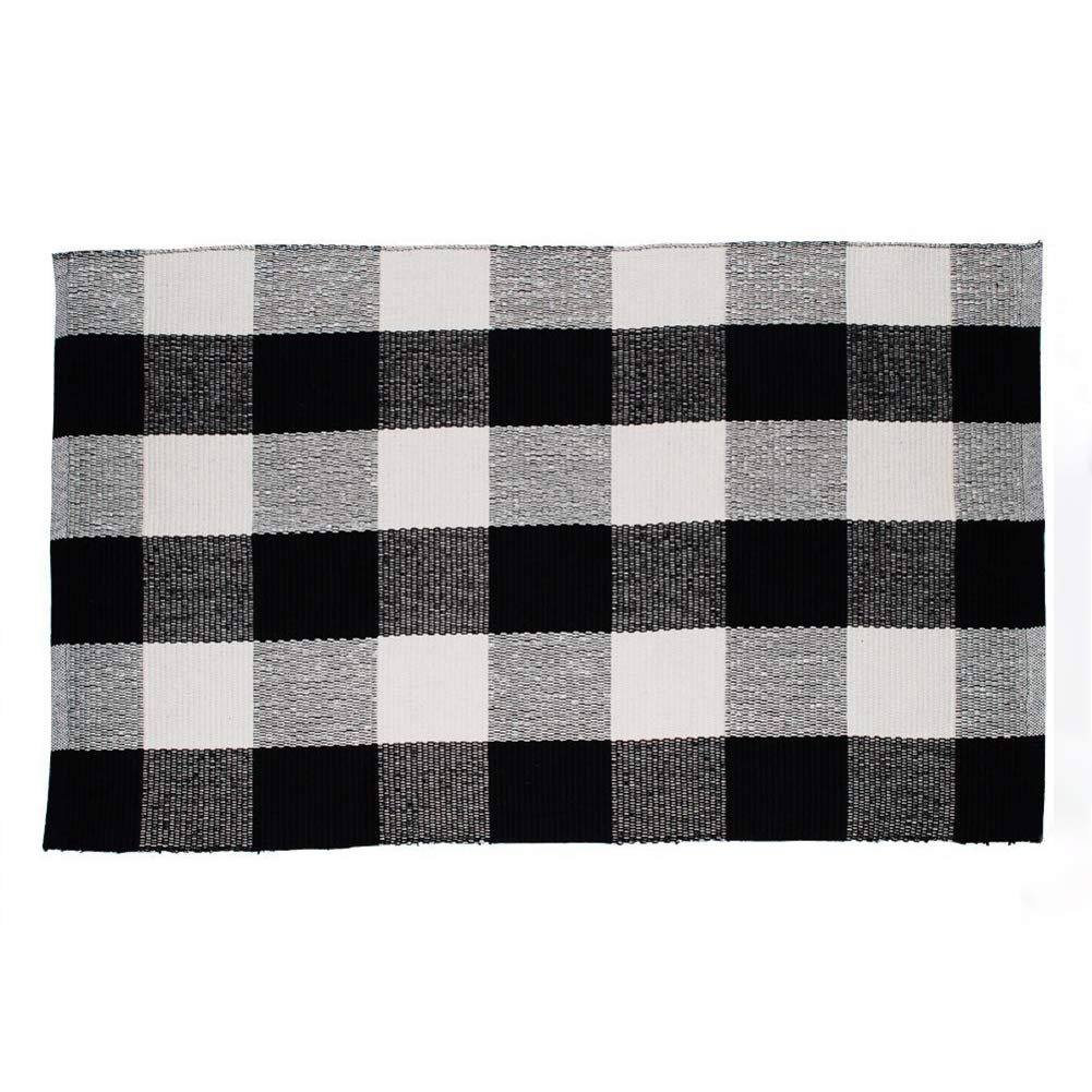Winwinplus 100% Cotton Plaid Rugs Black/White Hand-woven Checkered Carpet Washable Rag Throw Rugs,23.6''x35.4'',black and white rugs for living room/kitchen