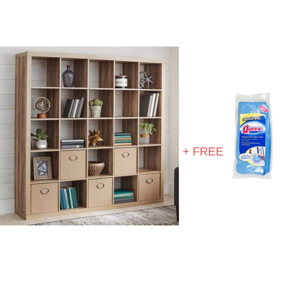 Better Homes and Gardens.. 25 Cube Organizer Room Divider, Weathered + Free Microfiber Towels
