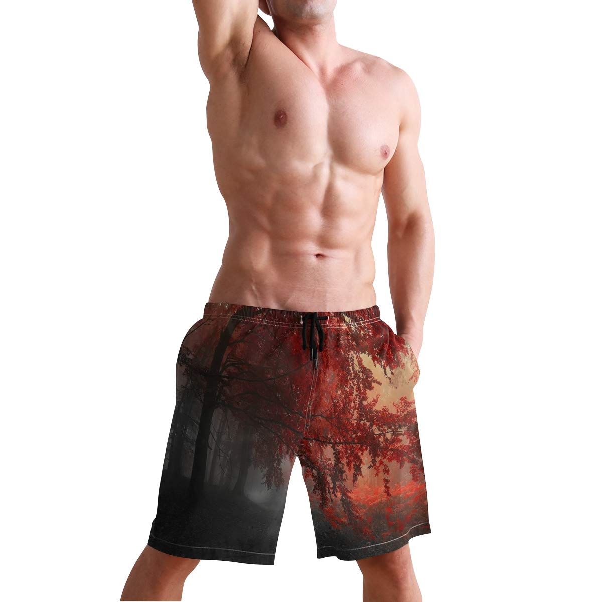 KVMV Red Spiral Fractal Quick Dry Beach Shorts 5 Size