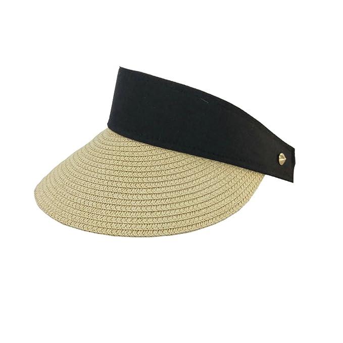 a6bced0a13c54f ACVIP Women's Rivet Visor Headband Summer Outdoor Straw Sun Hat (Beige):  Amazon.co.uk: Clothing
