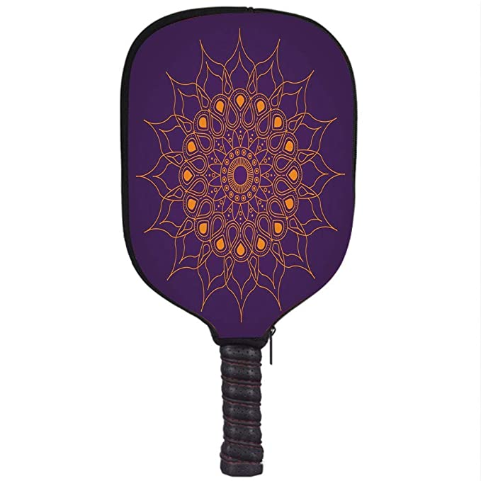 Amazon.com : YCHY High Grade Neoprene Pickleball Paddle Racket Cover Case, Purple Mandala, Mystic Sun Inspired Style Circle Cultural Icon Folk Culture ...