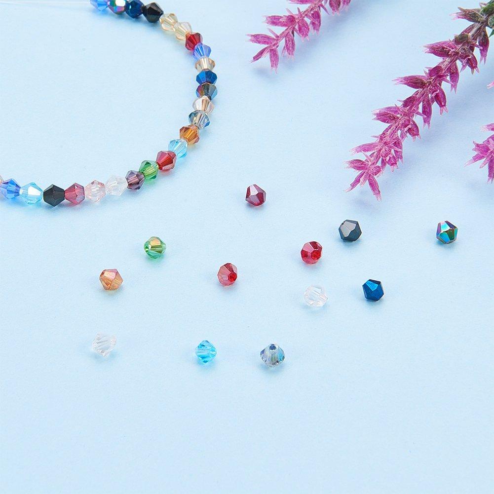Cuentas Bisuter/ía Abalorio Coloridas Joyer/ía DIY Pulsera Collar Pendientes 15 Colores Mxitos Agujero: 1 mm Facetado PandaHall Elite 1800 Pcs Granos AB de Vidrio 4x4 mm