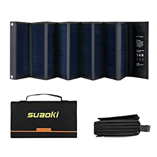 Suaoki - 60W Cargador Panel Solar (Placa Solar Pegable y Doblado, 18V DC, 5V USB salida, Para Moviles, Tablets, Dispositivos Digitales)
