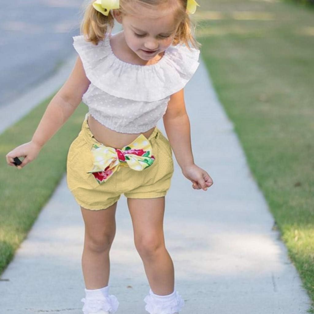 Bow-Knot Beach Shorts Clothes Sets for Little Girl Kids Girls Sleeveless Ruffle Crop Top Blouse