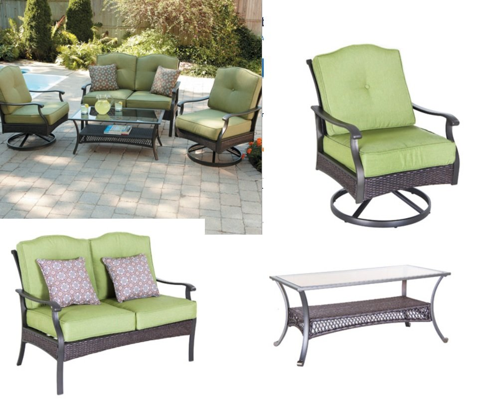 Amazon.com : Outdoor Wicker 4 Pc Chat Conversation Set Sofa Table Chairs W/  Cushions U0026 Pillows : Other Products : Garden U0026 Outdoor