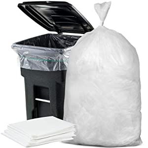 """Plasticplace 64-65 Gallon Trash Can Liners for Toter ¦ 1.5 Mil ¦ Clear Heavy Duty Garbage Bags ¦ 50"""" X 60"""" (50Count)"""