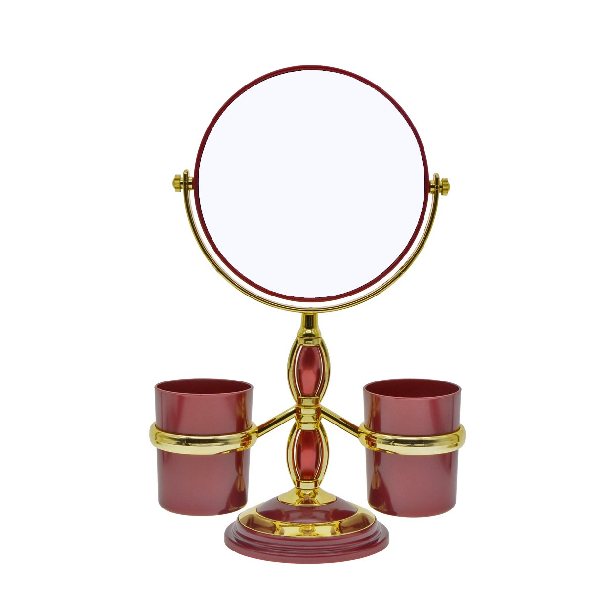Saim Round Shaped Double Sided Makeup Mirror, 1X/2X Magnifying Cosmetic Mirror with Two Brush Holders for Women Girls - Red