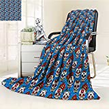 YOYI-HOME Digital Printing Duplex Printed Blanket Skulls Decorations Pattern with Skulls Roses in Floral Mexican Style Summer Quilt Comforter /W59 x H86.5
