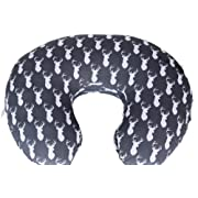 Maternity Breastfeeding Pillow Cover by Danha-Newborn Baby Feeding Cushion Case-Cute Donut Shape Wedge Pillow-Best Infant Support-for New Moms-Deer Head Prints Slipcover-Breathable Soft Fabric