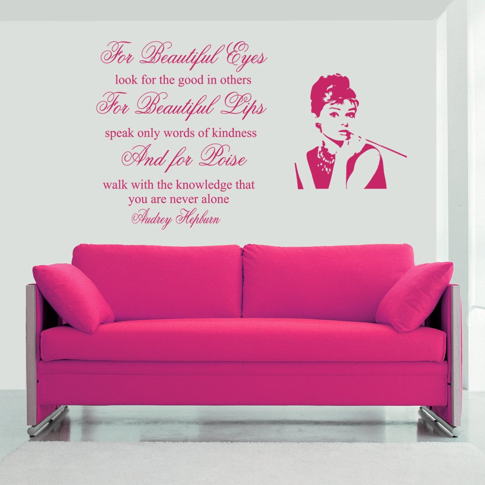 for beauiful eyes audrey hepburn wall decal sticker quote lounge for beauiful eyes audrey hepburn wall decal sticker quote lounge living room bedroom hall small amazon co uk kitchen home