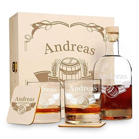 """Edle Whiskeyflasche mit Gravur /""""Gentleman/"""" Whisky Karaffe graviert Geschenkidee"""