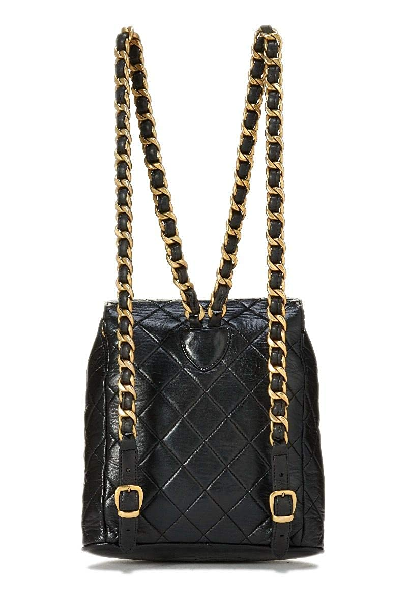 a744378c1200 Amazon.com: CHANEL Black Quilted Lambskin Backpack (Pre-Owned): Shoes