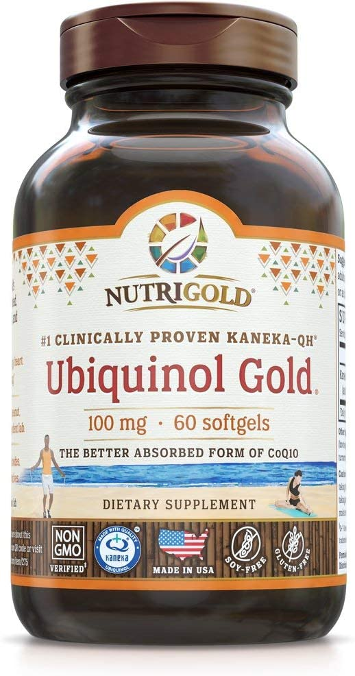 NutriGold Ubiquinol Gold Cardiovascular and Cellular Energy Support - Non-GMO, Kosher Certified and Gluten Free - 100mg (60 Softgels)