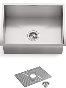 "STERLING by KOHLER 20023-PC-NA Ludington 24"" Under-Mount Single-Bowl, Medium Single Basin Kitchen Sink with Accessories, Stainless Steel"