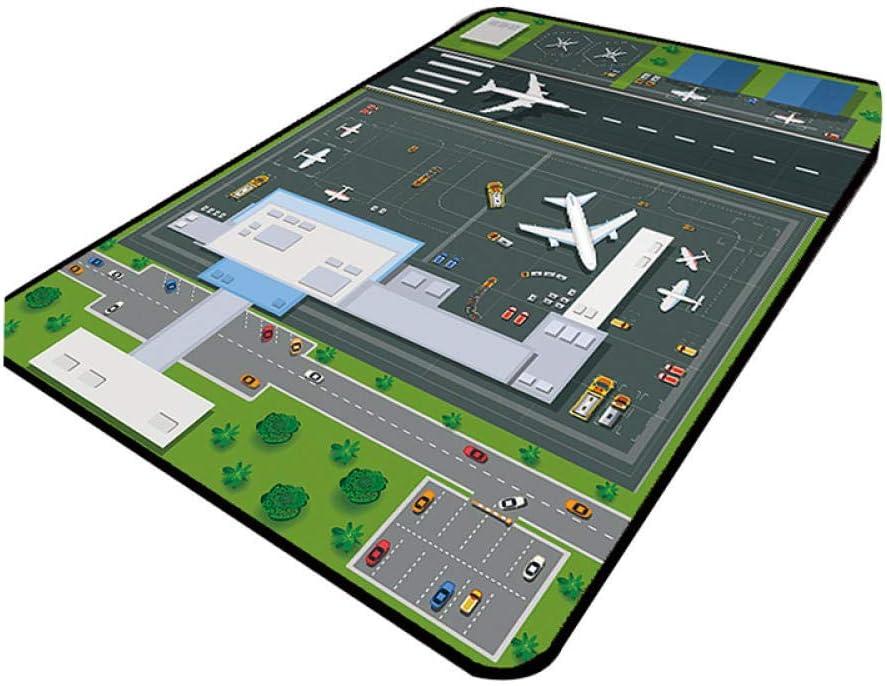 CMwardrobe Alfombra Habitaci/ón Infantil Alfombra de Parque de Atracciones Panorama del Aeropuerto Pelo Corto Antideslizante Lavable Moderna Alfombra 80/×120CM
