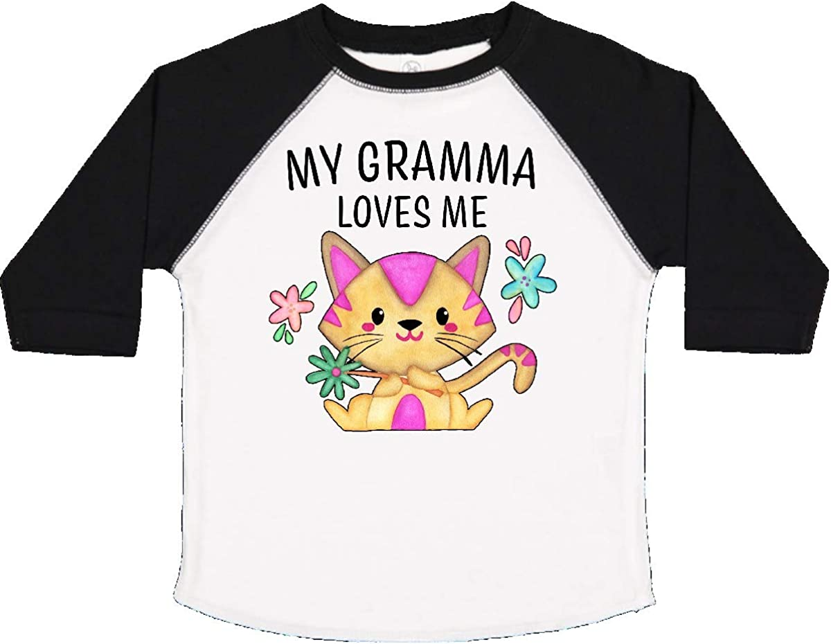 inktastic My Gramma Loves Me with Cute Kitten and Flowers Toddler T-Shirt