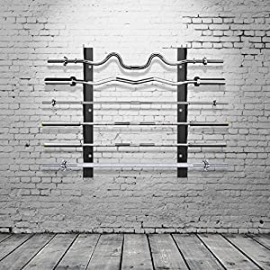 Ollieroo Olympic Barbell Rack Bar Storage, Weight Bar Holder, Barbell Storage, Horizontal Barbell Wall Mount Bar Plate…