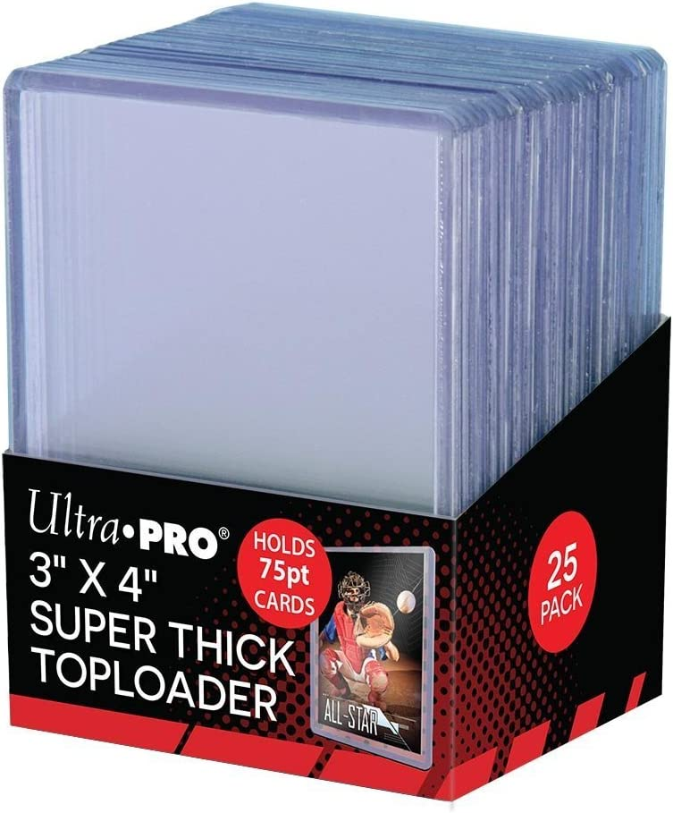 """Ultra Pro 3/"""" x 4/"""" 75pt Super Thick Toploader Card Protectors Packet of 25"""