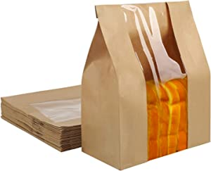 """Kraft Paper Food Pouch, EUSOAR 50pcs 12.6x8x4"""" Kraft Stand Up Pouch Bags, Bigger Storage Paper Bags with Window for Storing Dry Food, Nuts Seeds Beans Coffee Candy Snacks"""