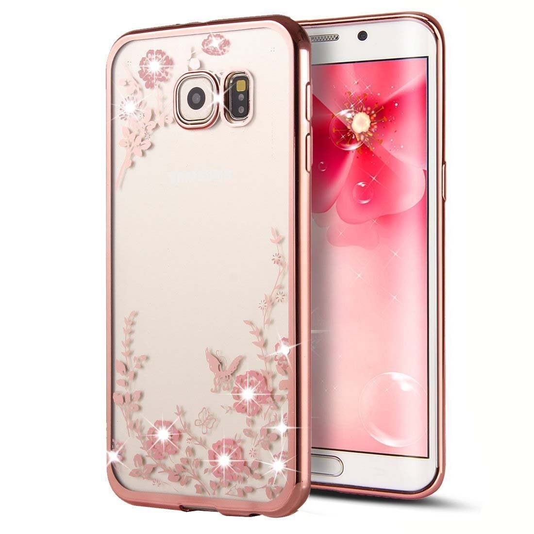 buy popular 04ff5 9048d Samsung Galaxy S7 Edge Case,Inspirationc [Secret Garden] Rose Gold and Pink  TPU Plating Clear Shiny Cover Series for Samsung Galaxy S7 Edge--Swarovski