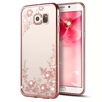 buy popular f8209 3fef3 Samsung Galaxy S7 Edge Case,Inspirationc [Secret Garden] Rose Gold and Pink  TPU Plating Clear Shiny Cover Series for Samsung Galaxy S7 Edge--Swarovski
