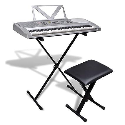 FZYHFA Piano Eléctrico de 61 Teclas con Atril,Teclados Musicales Profesionales, Soporte Ajustable y