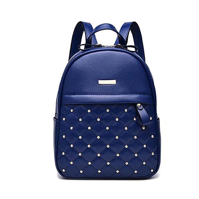 Las mujeres la mochila de cordones Casual Moda Mujer piel PU Mochila chica mochila azul: Amazon.es: Ropa y accesorios