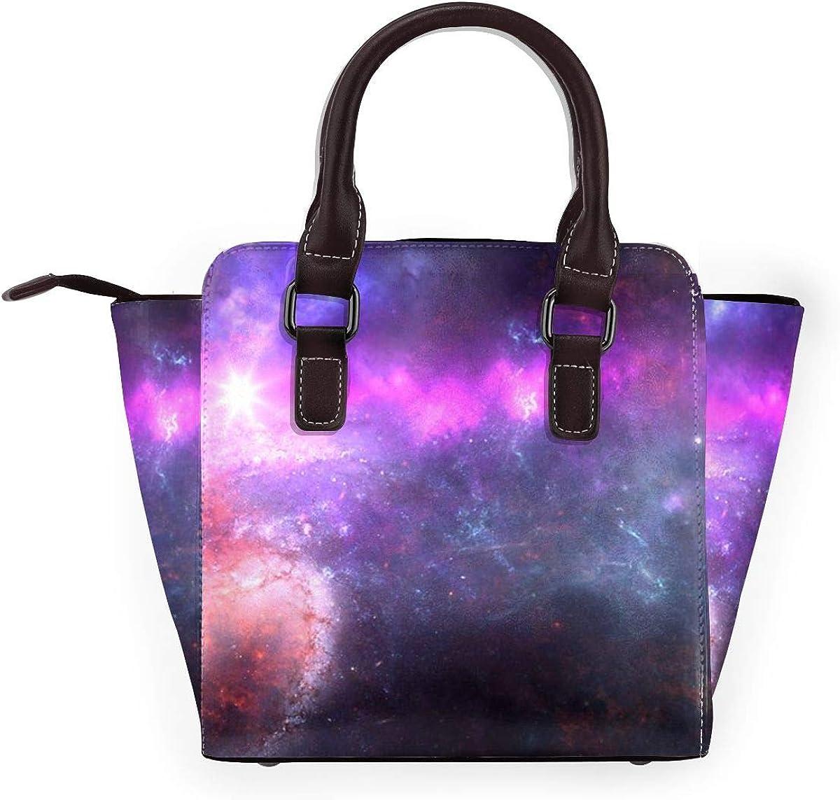 Colorato Notte Stellata Cielo Donne Moda Vera Pelle Rivetto Borsa a Tracolla Ragazze Viaggio Scuola Borsa Nebulosa Galassia