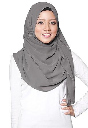 SAFIYA - Hijab pour femmes musulmanes voilées I Foulard voile turban  écharpe pashmina châle islamique I Mousseline de soie I Gris foncé -  75x180cm (Gris ... 6e0d7b6f7e2