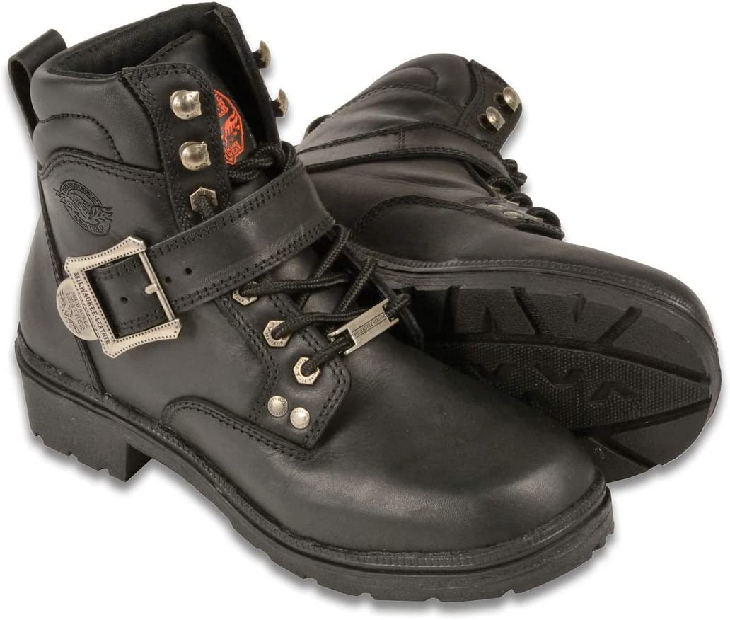 Milwaukee Womens Side Buckle Plain Toe Boots Black, Size 5