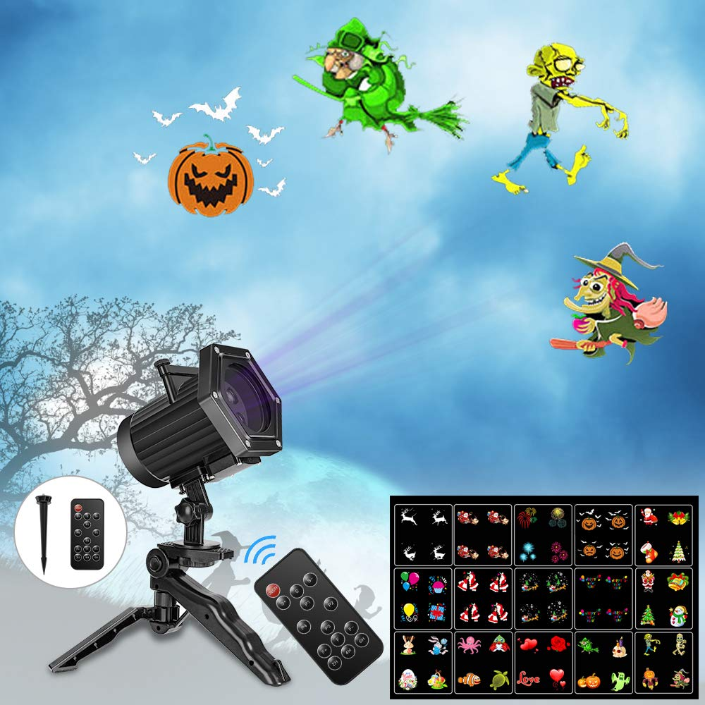 UNIFUN Christmas Lights,15 Patterns Projector Lights Waterproof Dynamic Landscape Lights for Celebration Halloween,Christmas, Birthday and Party Decorations by UNIFUN