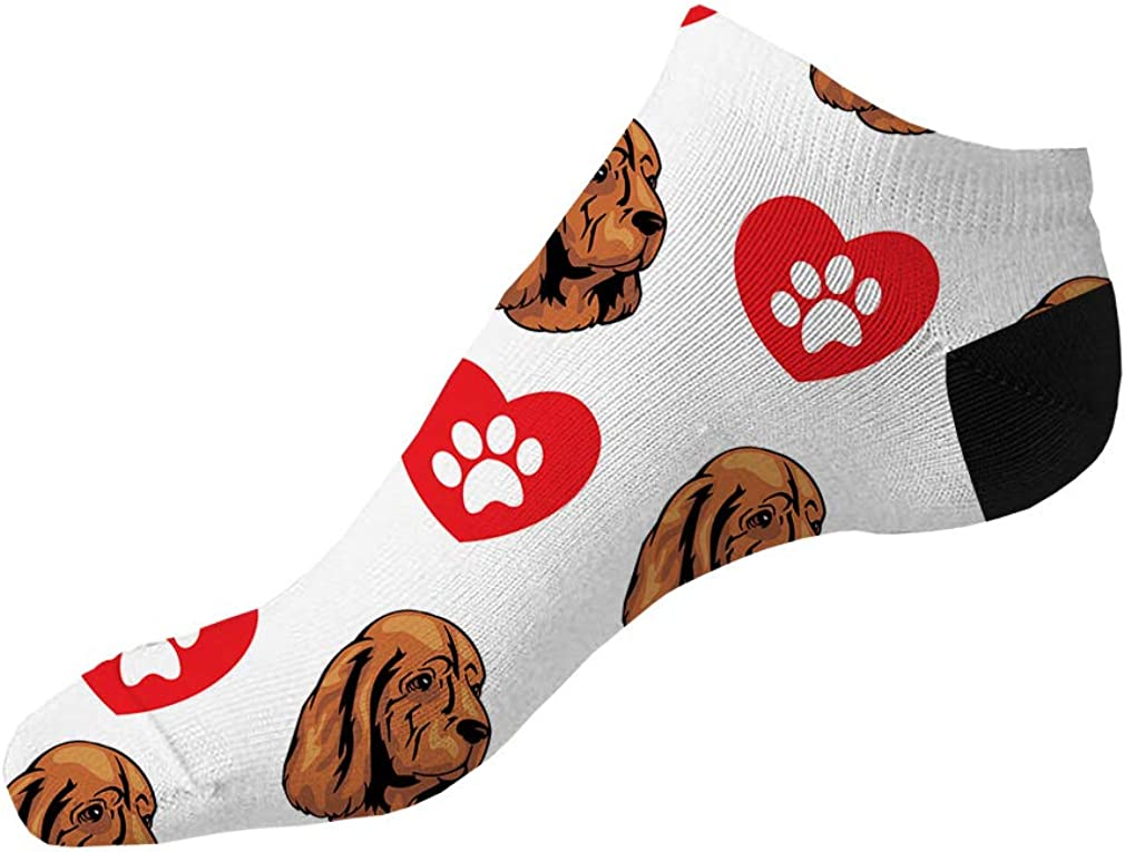 Sussex Spaniel Dog Heart Paws Pattern Men-Women Adult Ankle Socks