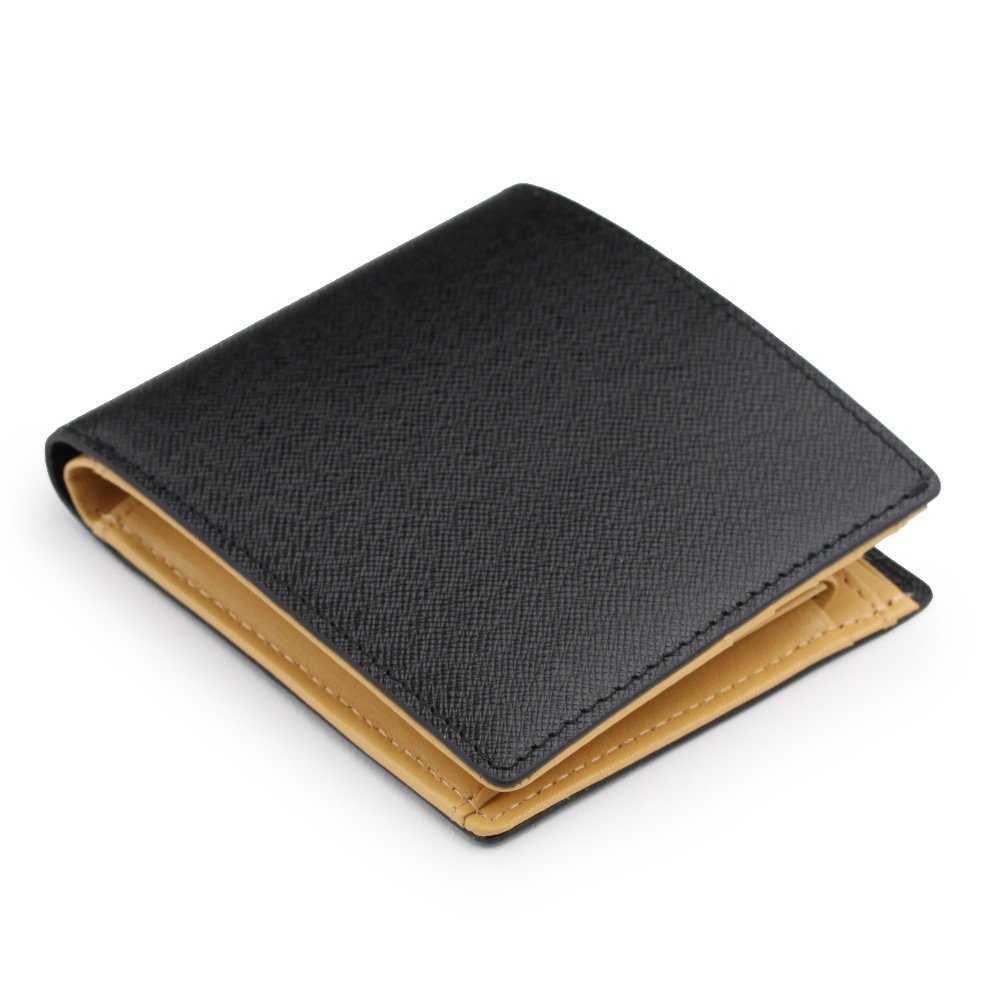 (アビエス)ABIES L.P. 本革 角シボ型押し牛革 二つ折り財布 (小銭入れつき) B00484965O  ブラック