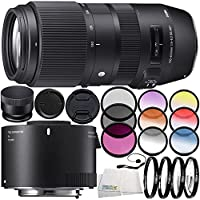 Sigma 100-400mm f/5-6.3 DG OS HSM Contemporary Lens for Canon EF 10PC Accessory Bundle – Sigma TC-2001 2x Teleconverter for Canon EF + MORE