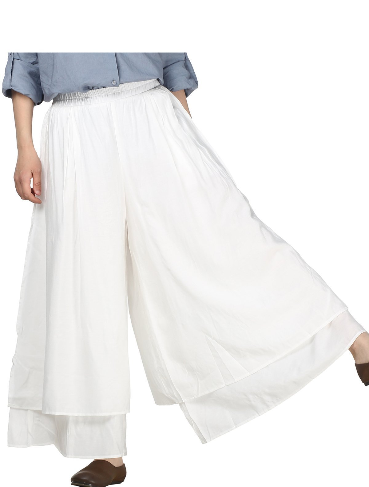Mordenmiss Women's Color Block Double-Layer Wide Leg Pants Trouser (L, White)
