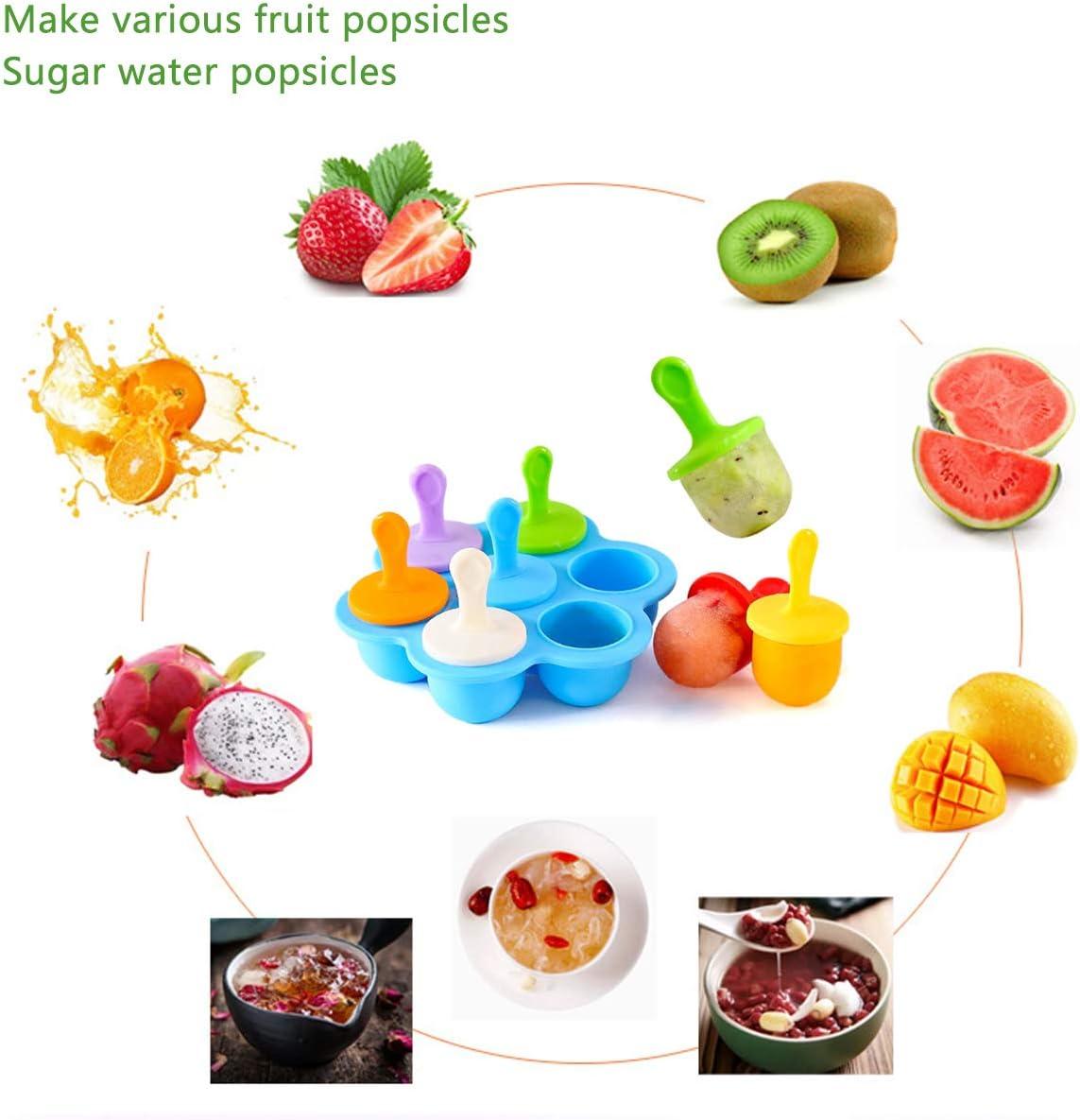 Eislutscher Formen f/ür Kinder Baby BPA Fre EIS am Stiel Formen mit Kunststoffst/äbchen Eisformen f/ür Stieleis Silikon