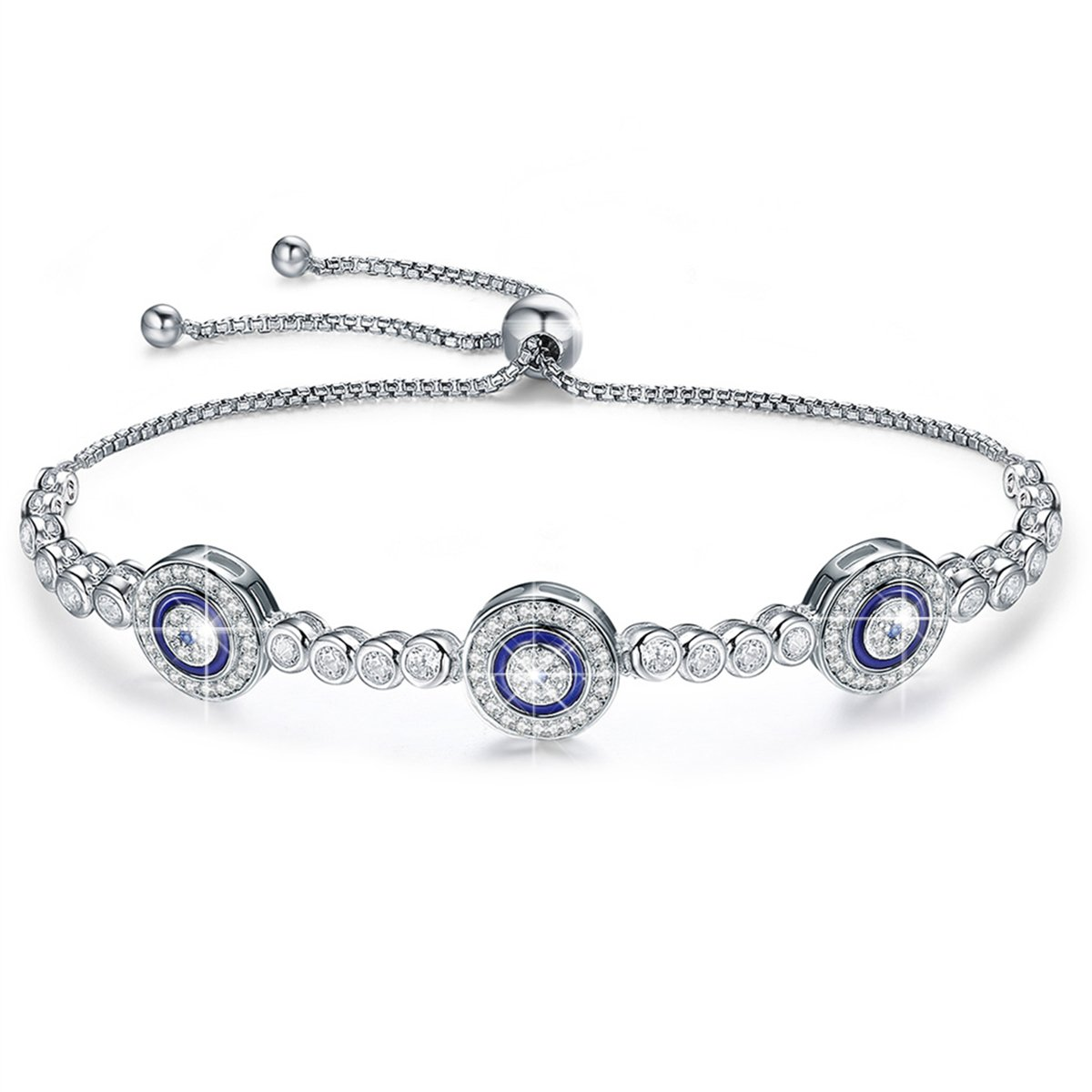 BAMOER 925 Sterling Silver Expandable Lucky Blue Evil Eye Chain Bracelet With Sparkling Cubic Zirconia for Women Girls Style 4