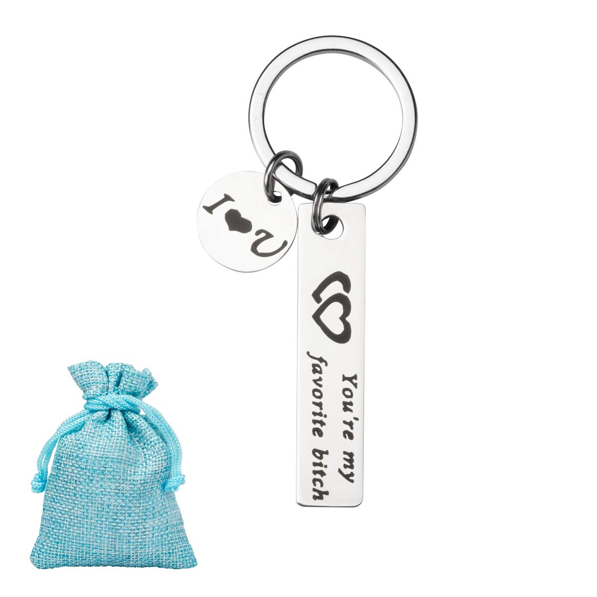 You\'re My Favorite Bitch Funny Keychain, 4YOUALL Stainless Steel Love Key Chain Jewelry Set for Valentines Day Birthday Gifts - for Funny Woman Girlfriend Wife Gifts (1pc, Bitch)