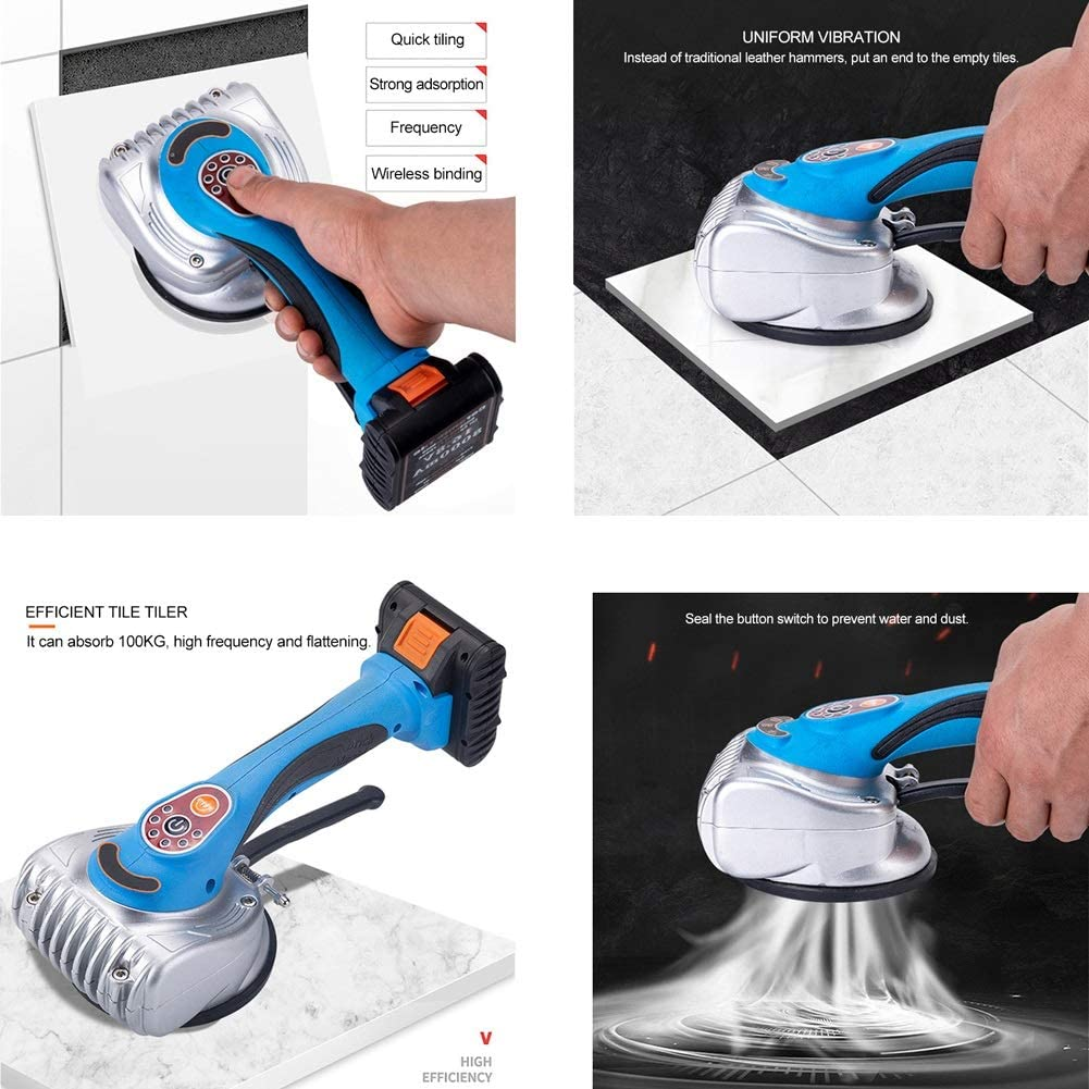 PoJu Azulejos de Azulejos Profesionales Bater/ía de Litio de Carga R/ápida Ajustador de Azulejos Ajustable de 6 Velocidades Puede Absorber 100 kg de Peso Puede Absorber Azulejos de 100 cm