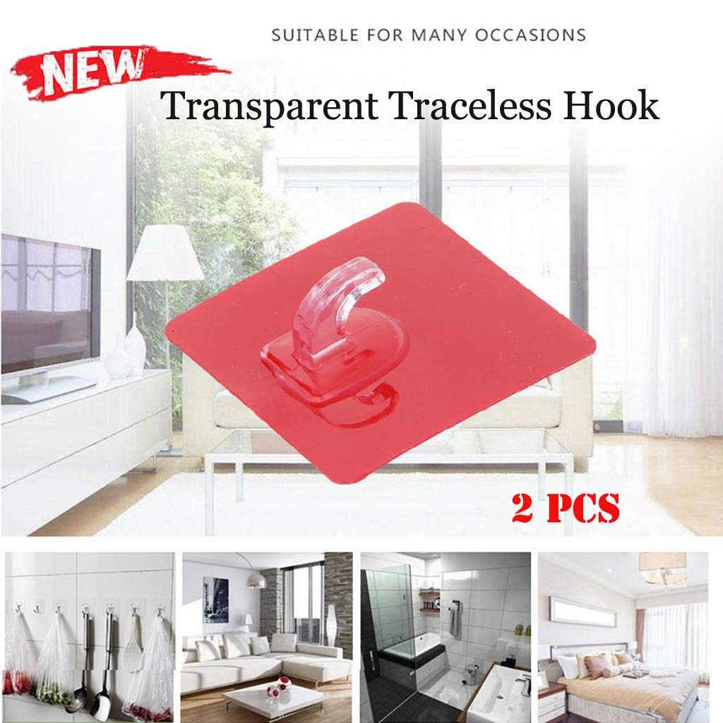 Samoii Multifunction Wall Hooks Transparent Reusable Seamless Hooks,Waterproof and Oilproof,Bathroom Kitchen Heavy Duty Self Adhesive Hooks,5/7/9/12/15 Pack (5)