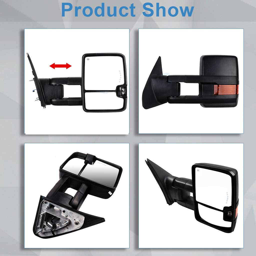 ECCPP for Toyota Tundra Towing Mirrors Rear View Mirrors for 2007-2015 Toyota Tundra Truck with Power Heated Reflector Turn Signal Manual Extending and Black Texture Housing